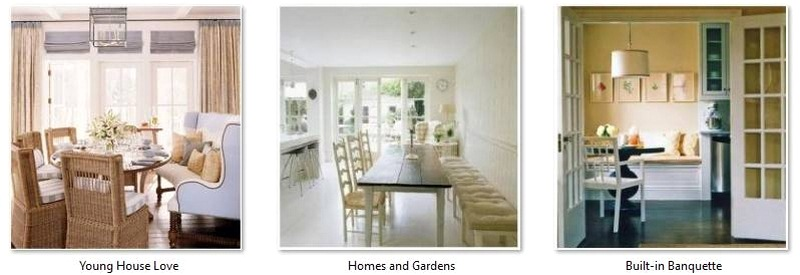 Banquette seating in a kitchen or dining area