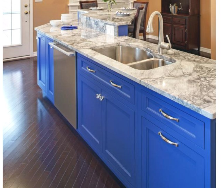 Paint your kitchen cabinets in bright contrasting colours
