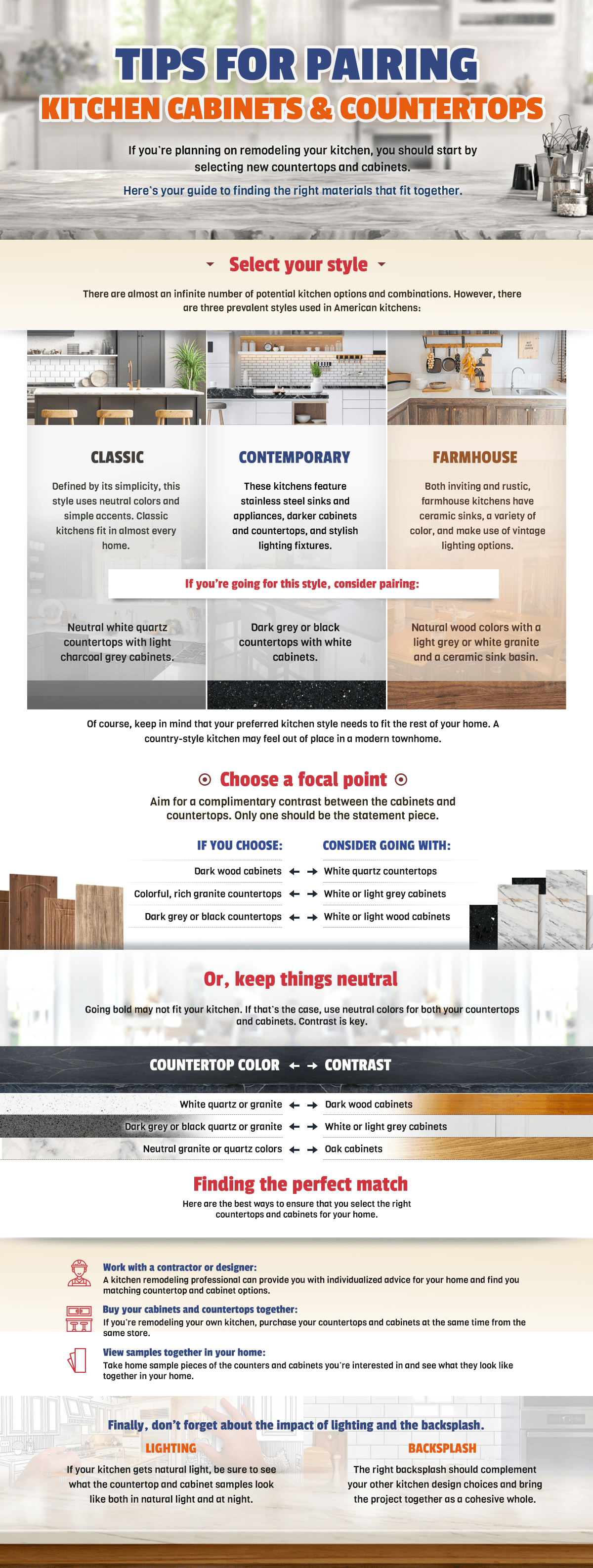 image - [INFOGRAPHIC] Tips for Pairing Kitchen Cabinets and Countertops