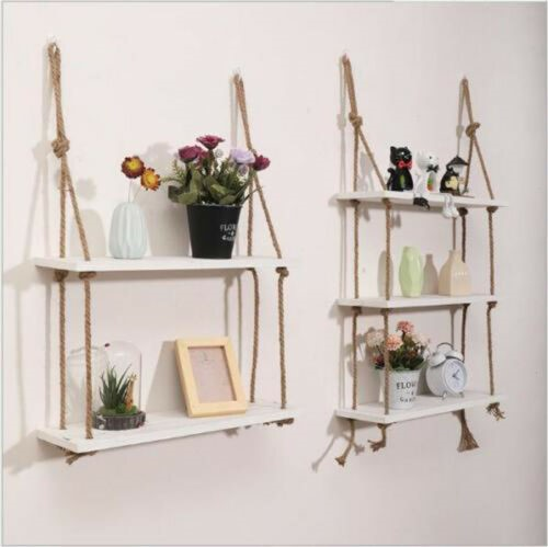 image - An Industrial Style Rope Hanging Shelf Unit