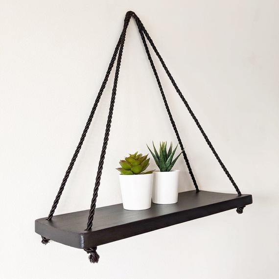 image - Black Shelves with Contrasting Black Threads